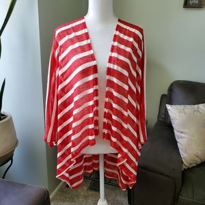 Mix It Red/white striped kimono cover up. One size